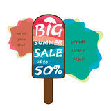 Big summer sale poster design. Big summer sale heading poster design using colorful ice cream Stock Image