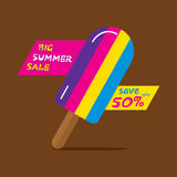 Big summer sale poster design. Big summer sale heading poster design using colorful ice cream Royalty Free Stock Images