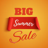 Big summer sale poster on orange background. Royalty Free Stock Images