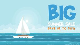 Big summer sale with ship on sea animation royalty free illustration