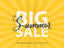 Big Summer Sale sign with retro pop art halftone background. Vector web banner template illustration Stock Images