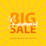 Big Summer Sale sign with retro pop art halftone background. Vector web banner template illustration Stock Photography