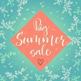 Big summer sale vector colour calligraphy royalty free illustration