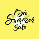 Big summer sale - vector illustration with handwritten text and flowers and leaves on yellow background. royalty free stock photo