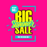 Big Summer Sale. This weekend special offer banner, discount 50% off. Royalty Free Stock Photography