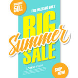 Big Summer Sale. This weekend special offer banner with hand lettering. Discount up to 50% off. Shop now! Royalty Free Stock Photography