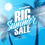 Big Summer Sale. This weekend special offer banner with hand lettering and palm trees for business, promotion and advertising. Royalty Free Stock Photos