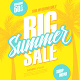 Big Summer Sale. This weekend special offer banner with hand lettering and palm trees. Discount up to 50% off. Shop now! Royalty Free Stock Image