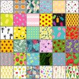 Big 36 Summer Seamless Pattern Background Collection Set. Vector Illustration. EPS vector illustration