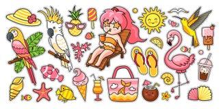 Big Summer Set. Tropical Birds, Parrots, Flamingo, Hummingbird, Girl, Deck Chair, Bag, Fish, Panama Hat, Flip Flops, Ice Royalty Free Stock Photography