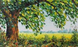 Big summer tree, grass, vegetation, field, green leaves. Original oil painting big summer tree, grass, vegetation, field, green leaves on canvas. Impasto artwork Stock Images