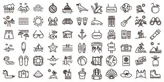 Big summer vacations icon set. Vector thin line illustrations. With objects, activities and places related with traveling, tourism, outdoors in the beach and royalty free illustration