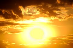 Big sun. bright sunset Stock Photography