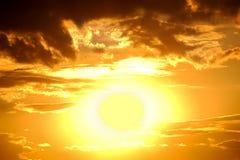 Big sun. bright sunset Stock Photography