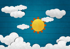Big sun and Cloud on Wooden Background Royalty Free Stock Photo