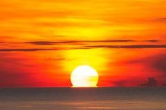 Big sun morning on the sea Royalty Free Stock Photo