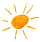 Big sun. watercolor drawing Stock Photos