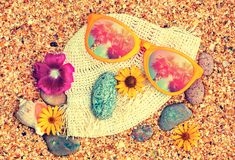 Big sunglasses lying on the bech Royalty Free Stock Image