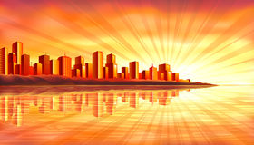 Big sunset city over water Stock Photos