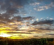Big Sunset. The dramatic late summer sunset in the sky above Wigan Royalty Free Stock Photos