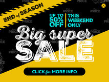 Big Super Sale Banner Design. End of Season Badge, Striped Road Tape and Seamless Best Price Pattern on Black Grunge Background. Vector Advertising for Website Stock Image