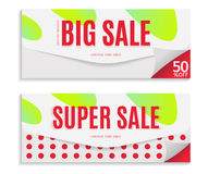 Big and Super Sale banner template design, red text on envelope background. Vector illustration Royalty Free Stock Images