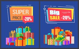 Big Super Sale Best Prices Discounts Promo Posters Stock Image