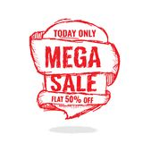 Big super sale, flat 50 off. Vector illustration. Today Only Mega Sale banner. Big super sale, flat 50 off. Vector illustration. shopping,  sign,  sketches Royalty Free Stock Photos
