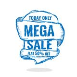 Big super sale, flat 50 off. Vector illustration. Today Only Mega Sale banner. Big super sale, flat 50 off. Vector illustration. shopping,  sign,  sketches Royalty Free Stock Images