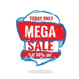Big super sale, flat 50 off. Vector illustration. Today Only Mega Sale banner. Big super sale, flat 50 off. Vector illustration. shopping,  sign,  sketches Royalty Free Stock Image