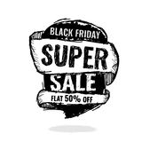 Big super sale, flat 50 off. Vector illustration. Today Only Mega Sale banner. Big super sale, flat 50 off. Vector illustration. shopping,  sign,  sketches Stock Images