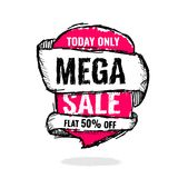 Big super sale, flat 50 off. Vector illustration. Today Only Mega Sale banner. Big super sale, flat 50 off. Vector illustration. shopping,  sign,  sketches Royalty Free Stock Photography