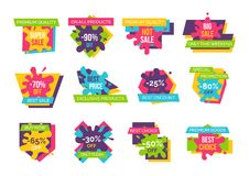 Big Super Sale Up to 90 Promotional Emblems Set Stock Photo