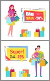 Big Super Sale Vouchers with People and Purchases Royalty Free Stock Photos