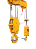 Big supper yellow construction crane for heavy lifting isolated cut on white background Stock Photography
