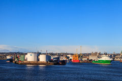 Big supply boats in Aberdeen harbor on 30 January 2016. Royalty Free Stock Image