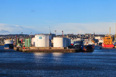 Big supply boats in Aberdeen harbor on 30 January 2016. Stock Image