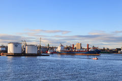 Big supply boats in Aberdeen harbor on 27 January 2016. Royalty Free Stock Images