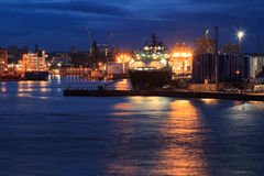 Big supply boats in Aberdeen harbor on 27 January 2016. Stock Photos