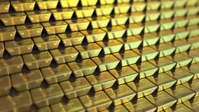 Big supply of fine gold bars or bullions. Realistic 3D rendering. Multiple gold bullions. Realistic 3D rendering Stock Photo