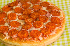 Big Supreme Pizza in pan Royalty Free Stock Image