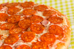 Big Supreme Pizza in pan Stock Images