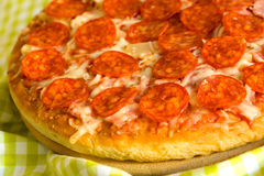 Big Supreme Pizza in pan Royalty Free Stock Images