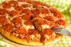 Big Supreme Pizza in pan Royalty Free Stock Photography