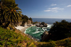 Big Sur. Is a sparsely populated region of the central California coast where the Santa Lucia Mountains rise abruptly from the Pacific Ocean Stock Photos