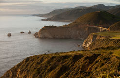 Big Sur and Bixby Bridge at sunset Stock Images