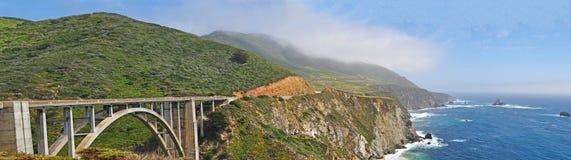Big Sur, Bixby Creek Bridge, Viewpoint, Green, Landscape, Nature, California, Usa, Cliff, Beach, Coastline, Mist, Fog, Road Royalty Free Stock Photography
