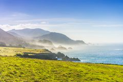 Big Sur California coast. The beautiful Big Sur on the coast of California gives an inspiring shoreline on the Pacific Ocean, which is a popular destination for stock photography