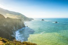 Big Sur California coast. The beautiful Big Sur on the coast of California gives an inspiring shoreline on the Pacific Ocean, which is a popular destination for royalty free stock photography