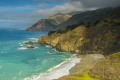 Big Sur California coast. The beautiful Big Sur on the coast of California gives an inspiring shoreline on the Pacific Ocean, which is a popular destination for stock images
